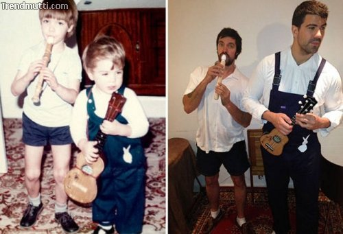 Fotos aus der Kindheit nachgestellt